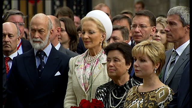 yuri gagarin statue unveiling ceremony martin davidson speech continued sot cutaways of prince and princess michael of kent standing with audience... - princess michael of kent stock videos and b-roll footage