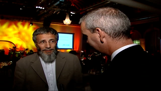 Yusuf Islam aka Cat Stevens peforms after 25 years in third world fundraiser Yusuf Islam interview with reporter in shot SOT My last charity...