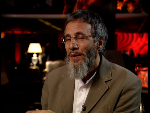 Yusuf Islam aka Cat Stevens peforms after 25 years in third world fundraiser Interview Yusuf Islam interview continues SOT Journalist asks if this...