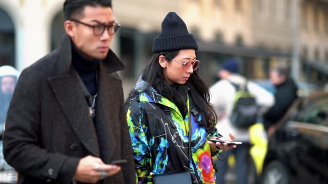 Yuwei Zhangzou is seen during Milan Menswear Fashion week Fall/Winter 2018/19 on January 14 2018 in Milan Italy
