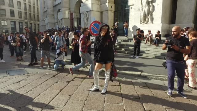 Yuwei Zhangzou wearing Louis Vuitton backpack and Vetements hoody on September 25 2016 in Milan Italy