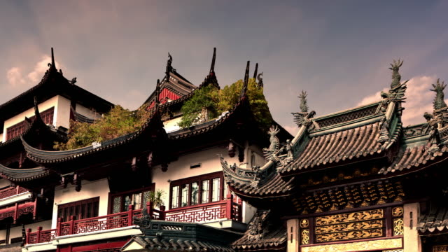 yuyuan gardens timelapse - temple building stock videos & royalty-free footage