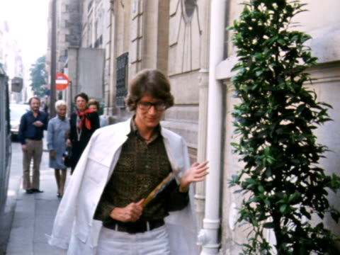 yves saint laurent arrives at his offices in paris. - saint laurent stock videos & royalty-free footage
