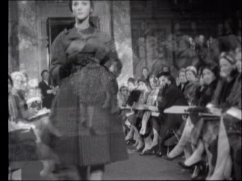 yves saint laurent to retire; lib ???: b/w sequence various yves saint laurent designs at fashion show - saint laurent stock videos & royalty-free footage