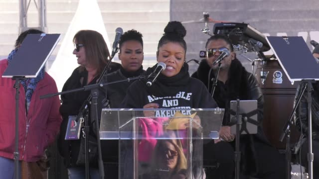 SPEECH Yvette Nicole Brown at 2018 Women's March Los Angeles on January 20 2018 in Los Angeles California