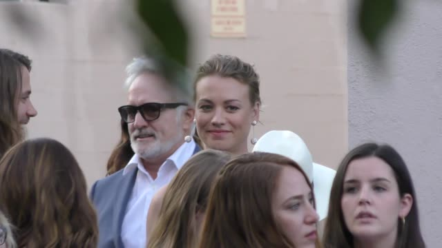 yvonne strahovski & bradley whitford attend the handmaid's tale hulu finale panel at the wilshire ebell theatre in los angeles in celebrity sightings... - wilshire ebell theatre stock videos & royalty-free footage