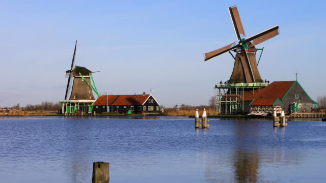 zaanse schans, amsterdam - mill stock videos and b-roll footage
