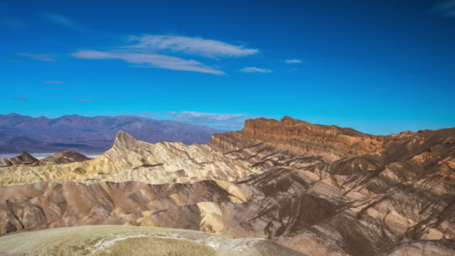 time lapse: zabriskie point at death valley national park, california, usa - zabriskie point stock videos & royalty-free footage