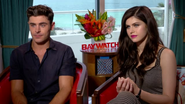 INTERVIEW Zac Efron and Alex Daddario at 'Baywatch' Interviews in Miami Florida
