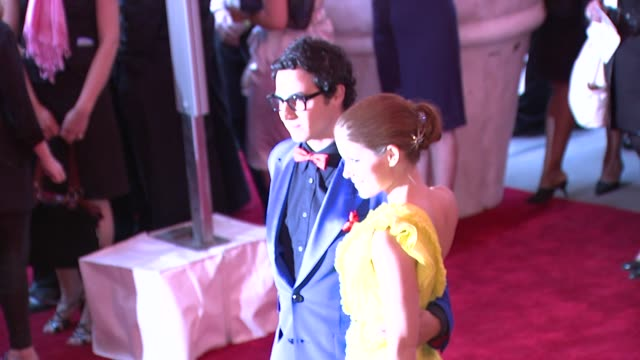 zac posen and kate mara at the superheroes fashion and fantasy costume institute gala at the metropolitan museum of art at the metropolitan museum of... - kate mara stock videos and b-roll footage