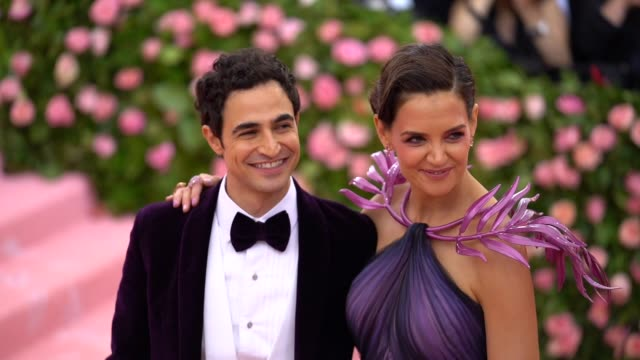 zac posen and katie holmes at the 2019 met gala celebrating camp notes on fashion arrivals at metropolitan museum of art on may 06 2019 in new york... - met gala 2019 stock videos and b-roll footage