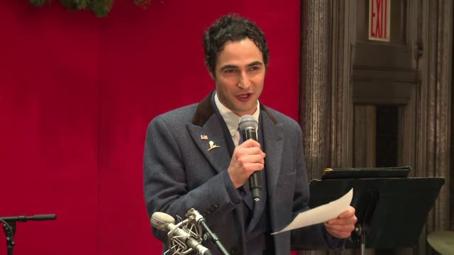 speech – zac posen on being excited for tonight's fund raising event introduces wynton marsalis at brooks brothers celebrates the holidays with st... - st. jude children's research hospital stock videos and b-roll footage