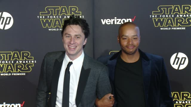 Zach Braff and Donald Faison at the 'Star Wars The Force Awakens' World Premiere at TCL Chinese Theatre on December 14 2015 in Hollywood California