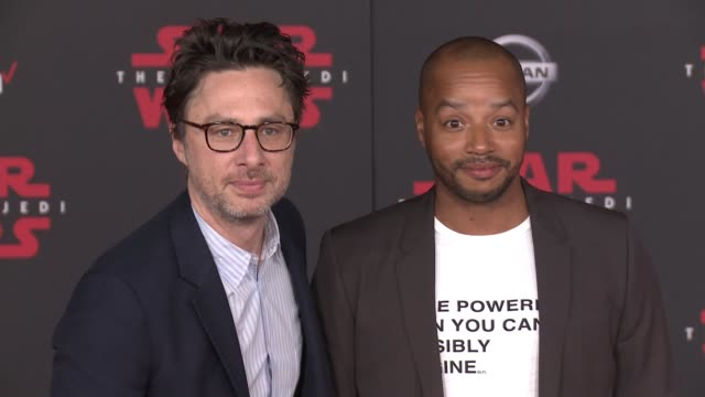 Zach Braff and Donald Faison at the 'Star Wars The Last Jedi' Premiere at The Shrine Auditorium on December 9 2017 in Los Angeles California
