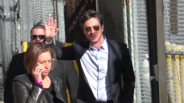 Zach Braff arrives for his guest appearance on Jimmy Kimmel Live at El Capitan Theater in Hollywood in Celebrity Sightings in Los Angeles