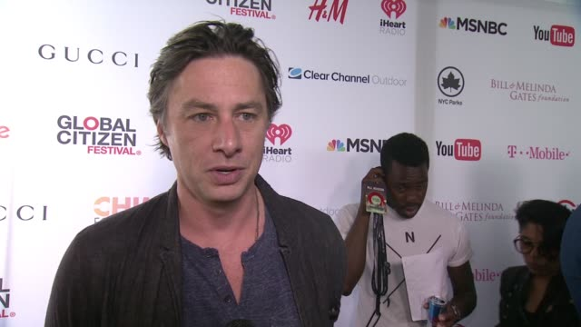 interview zach braff discusses how this concert can raise awareness at 2015 global citizen concert at central park on september 26 2015 in new york... - zach braff stock videos & royalty-free footage