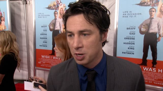 interview zach braff on making his new film working with fans to make it bucking the hollywood system to achieve his visions on kate hudson mandy... - zach braff stock videos & royalty-free footage