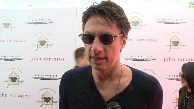 interview zach braff on the event and on john varvatos at the john varvatos 12th annual stuart house benefit with honorary chair chris pine hosted by... - zach braff stock videos & royalty-free footage