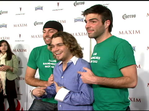 zachary levi aaron cannada and zachary quinto at the maxim's 8th annual hot 100 party at ono at the gansevoort hotel in new york new york on may 16... - zachary quinto stock videos and b-roll footage