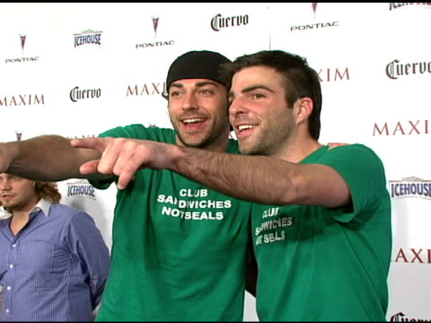 zachary levi and zachary quinto at the maxim's 8th annual hot 100 party at ono at the gansevoort hotel in new york new york on may 16 2007 - zachary quinto stock videos and b-roll footage