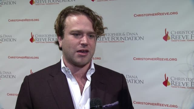 interview zachary pym williams discusses what it means for him to be here tonight and why fundraising and research is still so important at the... - christopher and dana reeve foundation stock videos and b-roll footage