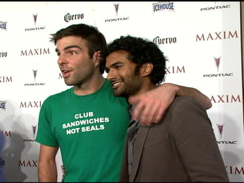 zachary quinto and sendhil ramamurthy at the maxim's 8th annual hot 100 party at ono at the gansevoort hotel in new york new york on may 16 2007 - zachary quinto stock videos and b-roll footage