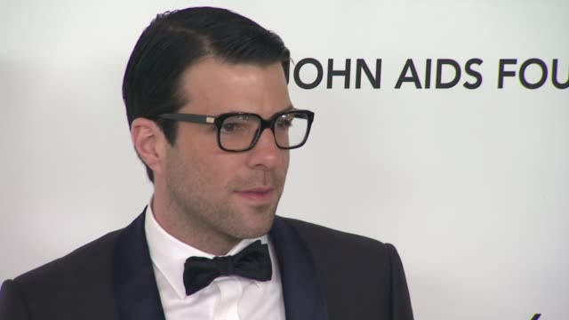 zachary quinto at elton john aids foundation celebrates 20th annual academy awards viewing party on 2/26/12 in hollywood ca - zachary quinto stock videos and b-roll footage