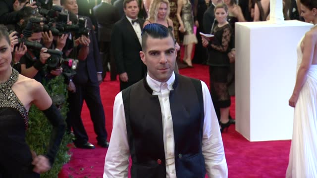 zachary quinto at punk chaos to couture costume institute gala at metropolitan museum of art on may 06 2013 in new york new york - zachary quinto stock videos and b-roll footage