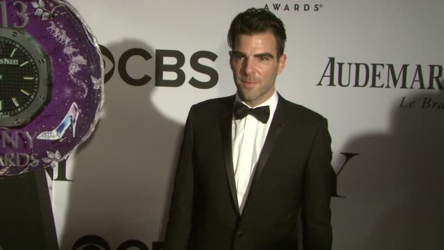 zachary quinto at the 67th annual tony awards arrivals at radio city music hall on june 09 2013 in new york new york - zachary quinto stock videos and b-roll footage