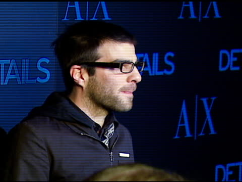 zachary quinto at the armani exchange and details magazine 'insider' at area in west hollywood california on december 7 2006 - zachary quinto stock videos and b-roll footage