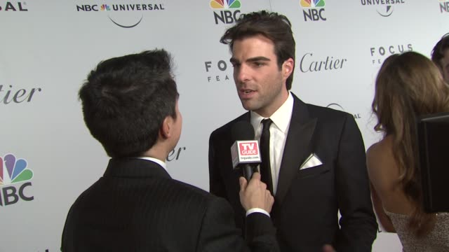 zachary quinto at the nbc universal pictures and focus features golden globes afterparty part 1 at los angeles ca - zachary quinto stock videos and b-roll footage