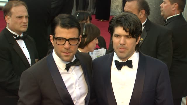 zachary quinto jc chandor at 84th annual academy awards arrivals on 2/26/12 in hollywood ca - zachary quinto stock videos and b-roll footage