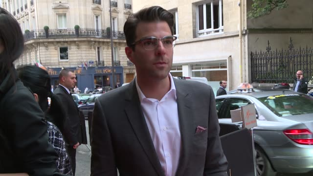 zachary quinto miles mcmillan at bulgari new collection presentation arrivals at apicius on july 08 2014 in paris france - zachary quinto stock videos and b-roll footage
