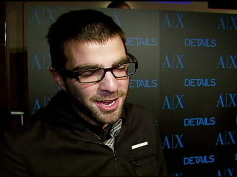 zachary quinto on 'heroes' the event details magazine armani exchange how his life has changed since the show at the armani exchange and details... - zachary quinto stock videos and b-roll footage