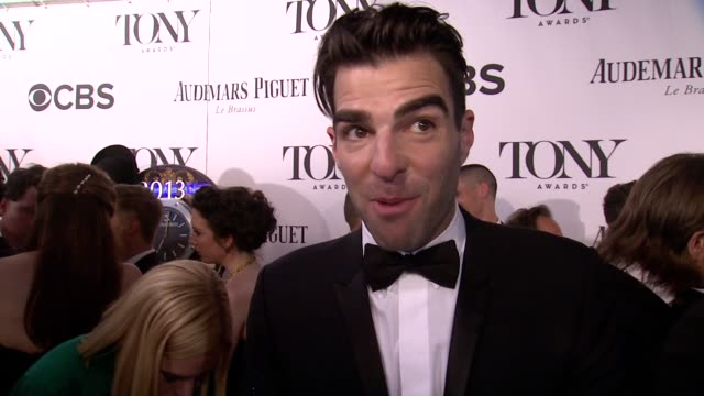 interview zachary quinto on his dreams coming true and being at the tony's for the first time at the 67th annual tony awards arrivals at radio city... - zachary quinto stock videos and b-roll footage