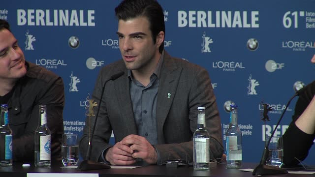 zachary quinto on how he became involved in the project as a producer and an actor at the 61st berlin film festival margin call press conference at... - zachary quinto stock videos and b-roll footage