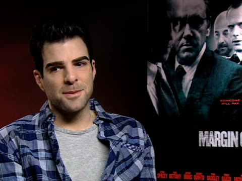 vídeos de stock, filmes e b-roll de zachary quinto on how how the film is a commentary to the current times at the margin call interviews 61st berlin international film festival at... - zachary quinto