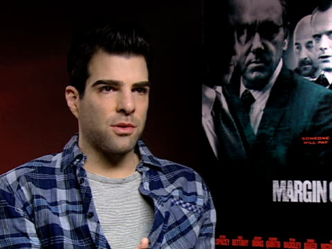 vídeos de stock, filmes e b-roll de zachary quinto on the complexity of the banking sector and how it was translated into film at the margin call interviews 61st berlin international... - zachary quinto