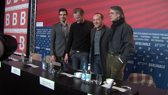 zachary quinto paul bettany kevin spacey jeremy irons at the 61st berlin film festival margin call press conference at berlin - zachary quinto stock videos and b-roll footage