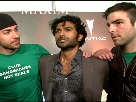 zachary quinto zachary levi aaron cannada and sendhil ramamurthy on what brings them out tonight how they are huge fans of maxim their favorite... - zachary quinto stock videos and b-roll footage