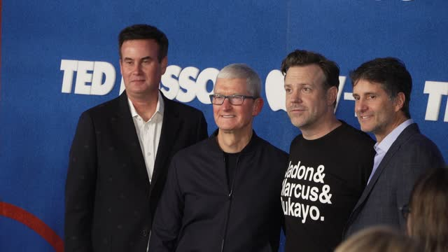 """zack van amburg, tim cook, jason sudeikis and jamie erlich at apple's """"ted lasso"""" season 2 premiere - arrivals at pacific design center on july 15,... - west hollywood stock videos & royalty-free footage"""