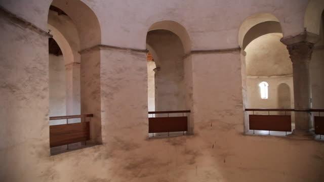 zadar, church of saint donatus, pre-romanesque, interior views - railings stock videos & royalty-free footage