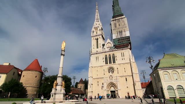 zagreb cathedral in kaptol, zagreb, croatia - zagreb stock videos and b-roll footage
