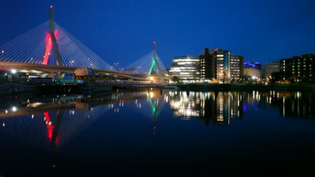zakim bridge christmas colors - cable stayed bridge stock videos & royalty-free footage