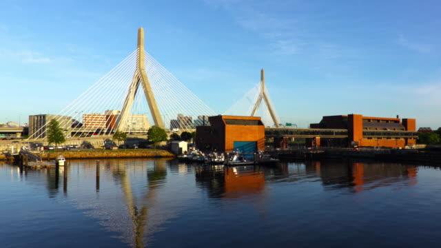 zakim bridge in boston massachusetts - river charles stock videos & royalty-free footage