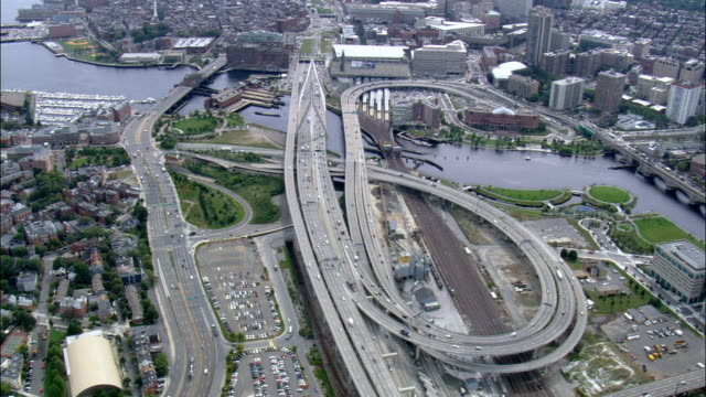 zakim bunker hill bridge  - aerial view - massachusetts,  suffolk county,  united states - sand pit stock videos and b-roll footage