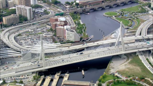 zakim bunker hill bridge  - aerial view - massachusetts,  suffolk county,  united states - boston massachusetts stock videos and b-roll footage