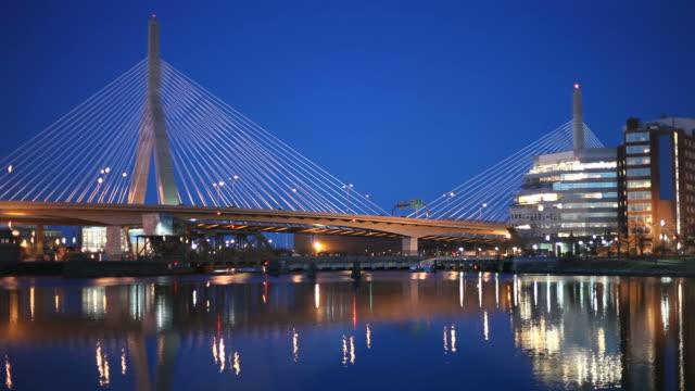 zakim bunker hill bridge - boston massachusetts stock videos and b-roll footage