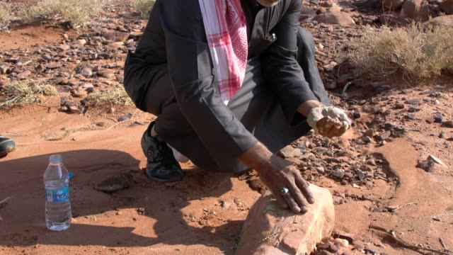 zalabia bedouin showing how to use plant called ajram to wash his hands in wadi rum desert, jordan - arid climate stock videos and b-roll footage