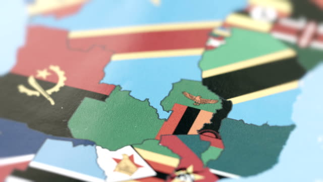 Zambia Borders with National Flag on World Map